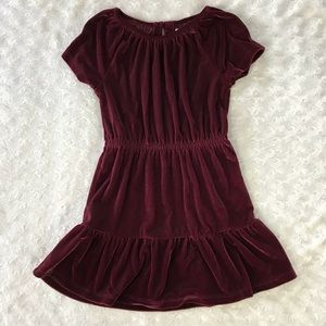 Gap Kids Velvet Tiered Dress Burgundy Size XS 4-5